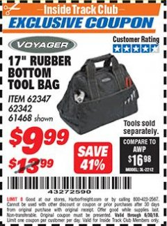 Harbor Freight ITC Coupon 25 POCKET MACHANIC'S TOOL BAG Lot No. 94432/62342/62347/61468 Expired: 6/30/18 - $9.99