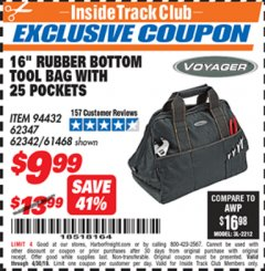 Harbor Freight ITC Coupon 25 POCKET MACHANIC'S TOOL BAG Lot No. 94432/62342/62347/61468 Expired: 4/30/19 - $9.99