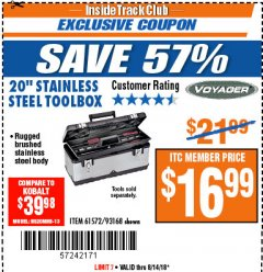"Harbor Freight ITC Coupon 20"" STAINLESS STEEL TOOLBOX Lot No. 61572/93168 Expired: 8/14/18 - $16.99"