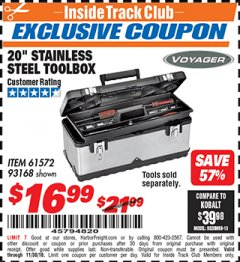 "Harbor Freight ITC Coupon 20"" STAINLESS STEEL TOOLBOX Lot No. 61572/93168 Expired: 11/30/18 - $16.99"