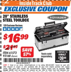 "Harbor Freight ITC Coupon 20"" STAINLESS STEEL TOOLBOX Lot No. 61572/93168 Expired: 1/31/19 - $16.99"