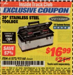 "Harbor Freight ITC Coupon 20"" STAINLESS STEEL TOOLBOX Lot No. 61572/93168 Expired: 7/31/19 - $16.99"