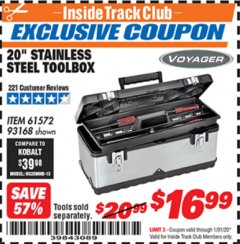 "Harbor Freight ITC Coupon 20"" STAINLESS STEEL TOOLBOX Lot No. 61572/93168 Valid: 1/1/20 - 1/31/20 - $16.99"