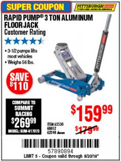Harbor Freight Coupon RAPID PUMP 3 TON ALUMINUM RACING JACK Lot No. 68052/61386/62248/62530 Expired: 8/20/18 - $159.99