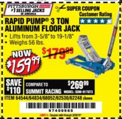 Harbor Freight Coupon RAPID PUMP 3 TON ALUMINUM RACING JACK Lot No. 68052/61386/62248/62530 Expired: 3/26/19 - $169.99