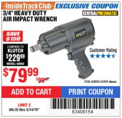 "Harbor Freight ITC Coupon 3/4"" HEAVY DUTY AIR IMPACT WRENCH Lot No. 60808/66984 Expired: 5/14/19 - $79.99"