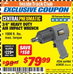 "Harbor Freight ITC Coupon 3/4"" HEAVY DUTY AIR IMPACT WRENCH Lot No. 60808/66984 Expired: 10/31/19 - $79.99"