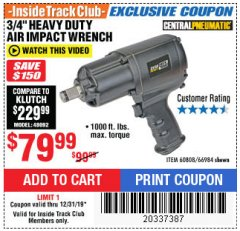 "Harbor Freight ITC Coupon 3/4"" HEAVY DUTY AIR IMPACT WRENCH Lot No. 60808/66984 Expired: 12/31/19 - $79.99"