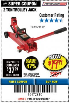 Harbor Freight Coupon 2 TON TROLLEY JACK Lot No. 64873, 64908, 56217, 64874 Expired: 9/30/18 - $19.99