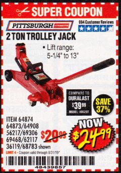 Harbor Freight Coupon 2 TON TROLLEY JACK Lot No. 64873, 64908, 56217, 64874 Expired: 8/31/19 - $24.99
