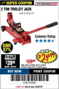Harbor Freight Coupon 2 TON TROLLEY JACK Lot No. 64873, 64908, 56217, 64874 Expired: 9/30/19 - $24.99
