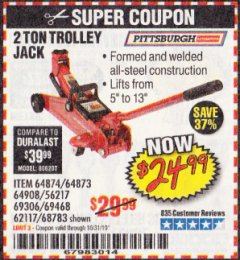 Harbor Freight Coupon 2 TON TROLLEY JACK Lot No. 68783/69306/69468/62117 Expired: 10/31/19 - $24.99