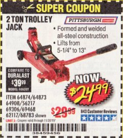 Harbor Freight Coupon 2 TON TROLLEY JACK Lot No. 64873, 64908, 56217, 64874 Expired: 11/30/19 - $24.99