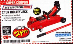 Harbor Freight Coupon 2 TON TROLLEY JACK Lot No. 64873, 64908, 56217, 64874 Valid: 2/18/20 - 6/30/20 - $24.99