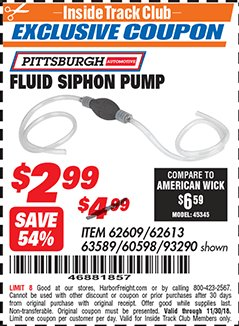 Harbor Freight ITC Coupon FLUID SIPHON PUMP Lot No. 93290/60598/62609/62613 Expired: 11/30/18 - $2.99
