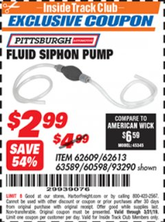 Harbor Freight ITC Coupon FLUID SIPHON PUMP Lot No. 93290/60598/62609/62613 Expired: 3/31/19 - $2.99