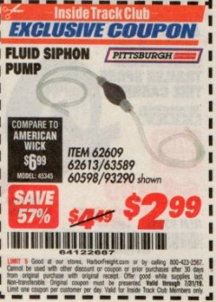 Harbor Freight ITC Coupon FLUID SIPHON PUMP Lot No. 93290/60598/62609/62613 Valid Thru: 7/31/19 - $2.99