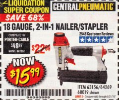 Harbor Freight Coupon 18 GAUGE 2-IN-1 NAILER/STAPLER Lot No. 68019/61661/63156 EXPIRES: 5/31/19 - $15.99