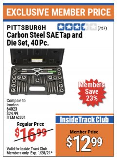 Harbor Freight ITC Coupon 40 PIECE CARBON STEEL TAP AND DIE SETS Lot No. 63016/62831/62832 Expired: 1/28/21 - $12.99
