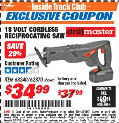 Harbor Freight ITC Coupon 18 VOLT CORDLESS RECIPROCATING SAW Lot No. 68240 Expired: 5/31/18 - $34.99