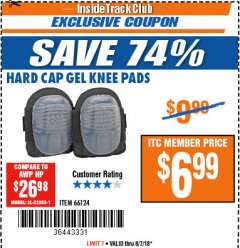 Harbor Freight ITC Coupon HARD CAP GEL KNEE PADS Lot No. 66124 Expired: 8/7/18 - $6.99