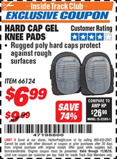 Harbor Freight ITC Coupon HARD CAP GEL KNEE PADS Lot No. 66124 Expired: 11/30/18 - $6.99