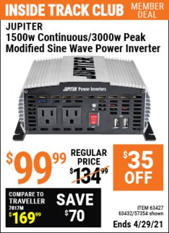 Harbor Freight ITC Coupon 1500 WATT CONTINUOUS/3000 WATT PEAK POWER INVERTER Lot No. 60601/61628/63427/63432 Expired: 4/29/21 - $99.99