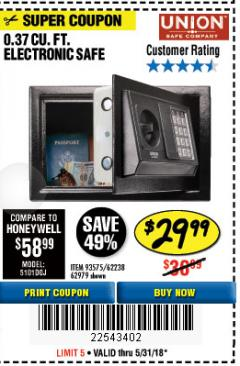 Harbor Freight Coupon 0.37 CUBIC FT. ELECTRONIC DIGITAL SAFE Lot No. 62238/93575 Expired: 5/31/18 - $29.99