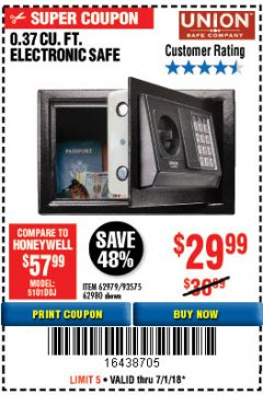 Harbor Freight Coupon 0.37 CUBIC FT. ELECTRONIC DIGITAL SAFE Lot No. 62238/93575 Expired: 7/1/18 - $29.99