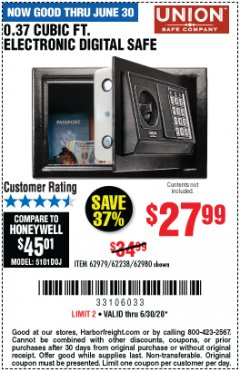 Harbor Freight Coupon 0.37 CUBIC FT. ELECTRONIC DIGITAL SAFE Lot No. 62238/93575 EXPIRES: 6/30/20 - $27.99