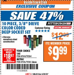 "Harbor Freight ITC Coupon 10 PIECE 3/8"" DRIVE COLOR CODED DEEP WALL SOCKET SETS Lot No. 69344/93264/69346/93265 Expired: 5/29/18 - $9.99"