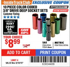 "Harbor Freight ITC Coupon 10 PIECE 3/8"" DRIVE COLOR CODED DEEP WALL SOCKET SETS Lot No. 69344/93264/69346/93265 Expired: 9/10/19 - $8.99"