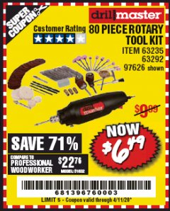 Harbor Freight Coupon 80 PIECE ROTARY TOOL KIT Lot No. 68986/97626/63292/63235 EXPIRES: 6/30/20 - $6.49