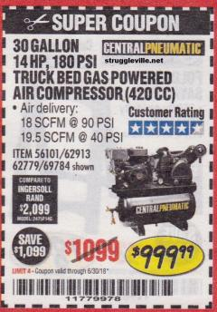 Harbor Freight Coupon 14 HP, 30 GALLON, 180 PSI TRUCK BED GAS POWERED AIR COMPRESSOR (420 CC) Lot No. 67853/56101/69784/62913/62779 Expired: 6/30/18 - $999.99