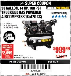 Harbor Freight Coupon 14 HP, 30 GALLON, 180 PSI TRUCK BED GAS POWERED AIR COMPRESSOR (420 CC) Lot No. 67853/56101/69784/62913/62779 Expired: 10/7/18 - $999.99