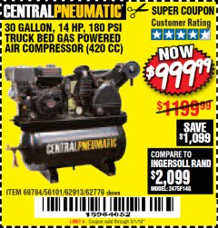 Harbor Freight Coupon 14 HP, 30 GALLON, 180 PSI TRUCK BED GAS POWERED AIR COMPRESSOR (420 CC) Lot No. 67853/56101/69784/62913/62779 Expired: 3/1/19 - $999.99