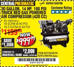 Harbor Freight Coupon 14 HP, 30 GALLON, 180 PSI TRUCK BED GAS POWERED AIR COMPRESSOR (420 CC) Lot No. 67853/56101/69784/62913/62779 Expired: 5/23/19 - $999.99