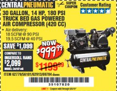 Harbor Freight Coupon 14 HP, 30 GALLON, 180 PSI TRUCK BED GAS POWERED AIR COMPRESSOR (420 CC) Lot No. 67853/56101/69784/62913/62779 EXPIRES: 6/6/19 - $999.99