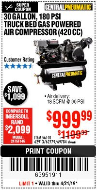 Harbor Freight Coupon 14 HP, 30 GALLON, 180 PSI TRUCK BED GAS POWERED AIR COMPRESSOR (420 CC) Lot No. 67853/56101/69784/62913/62779 Expired: 4/21/19 - $999.99