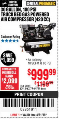 Harbor Freight Coupon 14 HP, 30 GALLON, 180 PSI TRUCK BED GAS POWERED AIR COMPRESSOR (420 CC) Lot No. 67853/56101/69784/62913/62779 Expired: 4/22/19 - $999.99