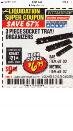 Harbor Freight Coupon 3 PIECE SOCKET TRAY/ORGANIZERS Lot No. 68100/68102 Expired: 5/31/19 - $6.99