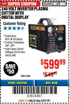 Harbor Freight Coupon 240 VOLT INVERTER PLASMA CUTTER WITH DIGITAL DISPLAY Lot No. 64808 Expired: 5/27/18 - $599.99