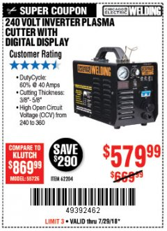 Harbor Freight Coupon 240 VOLT INVERTER PLASMA CUTTER WITH DIGITAL DISPLAY Lot No. 64808 Expired: 7/29/18 - $579.99