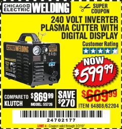 Harbor Freight Coupon 240 VOLT INVERTER PLASMA CUTTER WITH DIGITAL DISPLAY Lot No. 64808 Expired: 3/2/19 - $599.99