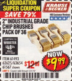 "Harbor Freight Coupon 2"" INDUSTRIAL GRADE CHIP BRUSHES, PACK OF 36 Lot No. 62625/61493/61567 Expired: 5/31/19 - $9.99"