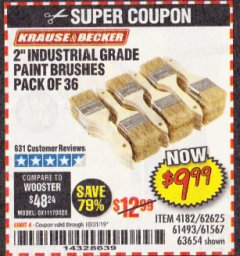 "Harbor Freight Coupon 2"" INDUSTRIAL GRADE CHIP BRUSHES, PACK OF 36 Lot No. 62625/61493/61567 Valid Thru: 10/31/19 - $9.99"