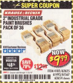 "Harbor Freight Coupon 2"" INDUSTRIAL GRADE CHIP BRUSHES, PACK OF 36 Lot No. 62625/61493/61567 Expired: 11/30/19 - $9.99"