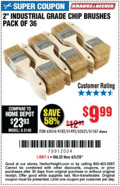 "Harbor Freight Coupon 2"" INDUSTRIAL GRADE CHIP BRUSHES, PACK OF 36 Lot No. 62625/61493/61567 Valid Thru: 6/30/20 - $9.99"