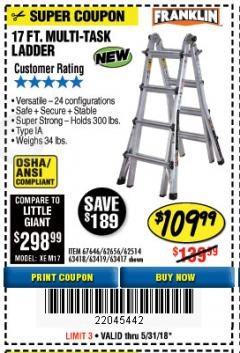 Harbor Freight Coupon 17 FT. TYPE 1A MULTI-TASK LADDER Lot No. 67646/62656/62514/63418/63419/63417 Expired: 5/31/18 - $109.99