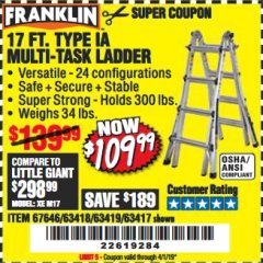 Harbor Freight Coupon 17 FT. TYPE 1A MULTI-TASK LADDER Lot No. 67646/62656/62514/63418/63419/63417 Expired: 4/1/19 - $109.99